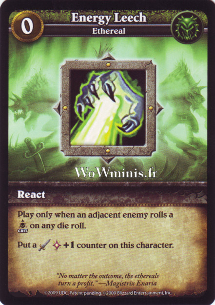 WoW Minis - Cartes à l'unité [Spoils of War] WoW Miniatures Game 14 - Energy Leech [cartes Wow Minis: Spoils Of War]