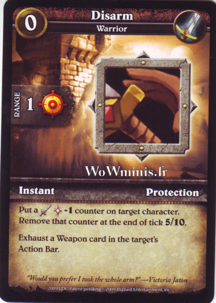 WoW Minis - Cartes à l'unité [Spoils of War] WoW Miniatures Game 35 - Disarm[Cartes WOW minis: Spoils of War]