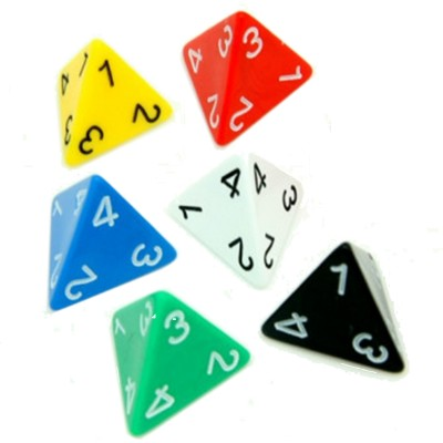 Dés  Dé à 4 Faces - Pyramide - 30mm (couleurs selon stock)