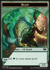 Tokens Magic Magic the Gathering Token/Jeton - Commander 2014 - Double : Elfe Et Druide / Bete 4/4