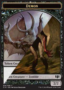 Tokens Magic Token/Jeton - Commander 2014 - Double : Demon 5/5 / Zombie B