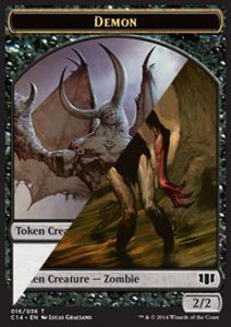 Tokens Magic Magic the Gathering Token/Jeton - Commander 2014 - Double : Demon 5/5 / Zombie B