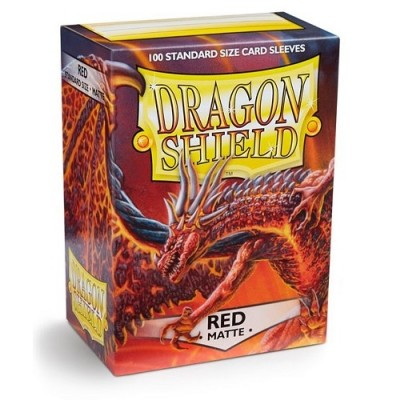 Protèges Cartes Accessoires Pour Cartes 100 Pochettes Dragon Shield Matte - Rouge - Acc