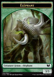 Tokens Magic Magic the Gathering Token/Jeton - Commander 2015 - Double :Éléphant/zombie