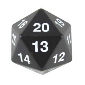 Dés et compteurs Accessoires Pour Cartes Koplow Games - Enorme Dé 20 Faces - 55mm - Noir - ACC
