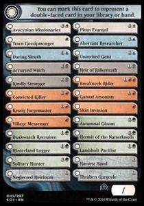 Tokens Magic Magic the Gathering Token/Jeton - Ténèbres Sur Innistrad - Checklist Uncos/communes