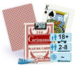Jeux de cartes Petits Jeux Jeux de cartes de Poker - Grimaud - Rouge