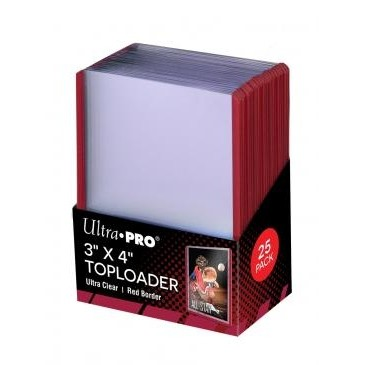 "Protèges Cartes  25 Toploader - 3"" x 4"" - Ultra Clear - Red Border"
