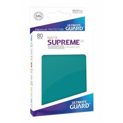 Protèges Cartes Accessoires Pour Cartes 80 Pochettes Ultimate Guard - Sleeves Supreme Ux - Bleu Pétrole Matte - Acc