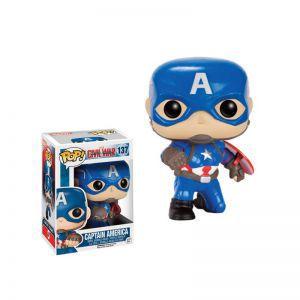 Figurines Funko POP! Accessoires Pour Cartes MARVEL - Funko POP Vinyl - 137 - Captain America Action Poste
