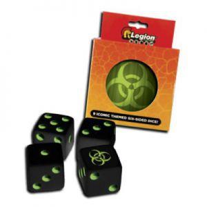 Dés et compteurs Accessoires Pour Cartes Legion - 9x D6 Dice Tin - Iconic Bio - Acc