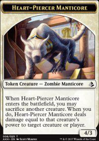 Tokens Magic Magic the Gathering Token/jeton - Amonkhet - 06/25 Manticore Perse-cœur