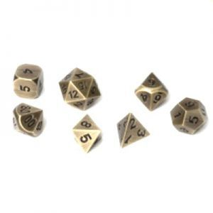 Dés et compteurs Accessoires Pour Cartes Set de 7 Des - Metal RPG - Antique Gold - ACC