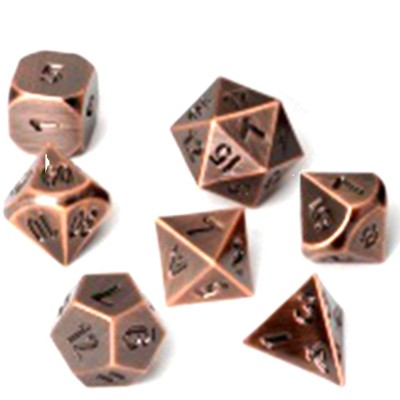 Dés et compteurs  Set de 7 Des - Metal RPG - Antique Copper