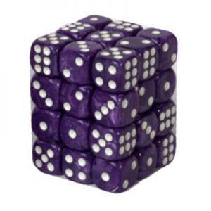 Dés et compteurs  Boite De 36 Dés à 6 Faces 12mm - Marbled Purple / White