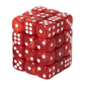 Dés et compteurs  Boite De 36 Dés à 6 Faces 12mm - Marbled Red