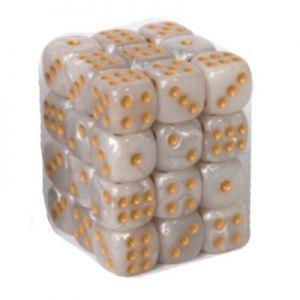Dés et compteurs  Boite De 36 Dés à 6 Faces 12mm - Marbled White Gold