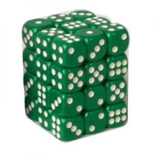 Dés et compteurs  Boite De 36 Dés à 6 Faces 12mm - Opaque Green