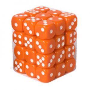 Dés et compteurs Accessoires Pour Cartes Boite De 36 Dés à 6 Faces 12mm - Opaque Orange