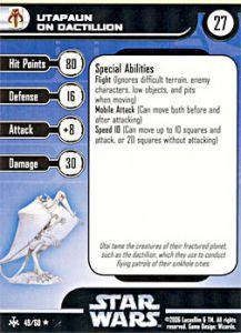 Star Wars Miniatures - Bounty Hunters Star Wars Miniatures 49 - Utapaun on Dactillian [Star Wars Miniatures - Bounty Hunters] [Carte Seule]