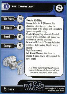 Star Wars Miniatures - The Force Unleashed Star Wars Miniatures 42 - TIE Crawler [Star Wars Miniatures - The Force Unleashed] [Carte Seule]