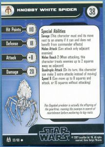 Star Wars Miniatures - The Force Unleashed Star Wars Miniatures 52 - Knobby White Spider [Star Wars Miniatures - The Force Unleashed] [Carte Seule]