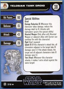 Star Wars Miniatures - The Force Unleashed 57 - Telasian Tank Droid [Star Wars Miniatures - The Force Unleashed] [Carte Seule]