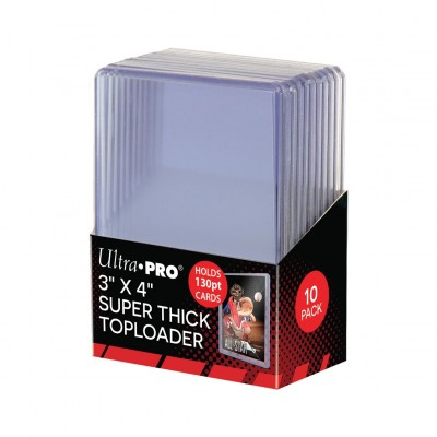 "Protèges Cartes 10 Toploader 3"" x 4"" Super Thick 130pt - Clear"