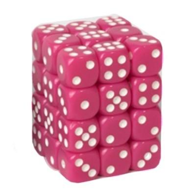 Dés et compteurs Accessoires Pour Cartes Boite De 36 Dés à 6 Faces 12mm - Opaque Pink