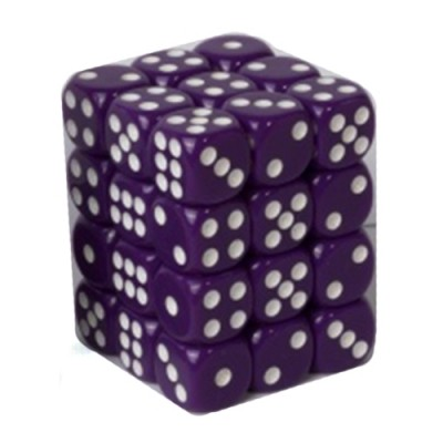 Dés et compteurs Boite De 36 Dés à 6 Faces 12mm - Opaque Purple