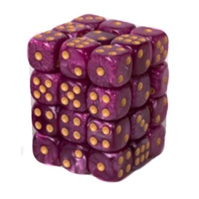 Dés et compteurs Accessoires Pour Cartes Boite De 36 Dés à 6 Faces 12mm - Marbled Purple / Gold