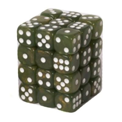 Dés et compteurs Boite De 36 Dés à 6 Faces 12mm - Marbled Pearlized Green