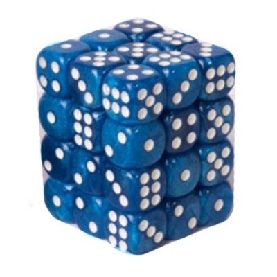 Dés et compteurs Accessoires Pour Cartes Boite De 36 Dés à 6 Faces 12mm - Marbled Light Blue