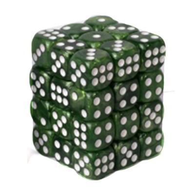 Dés et compteurs Boite De 36 Dés à 6 Faces 12mm - Marbled Jade Green