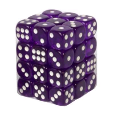 Dés et compteurs Accessoires Pour Cartes Boite De 36 Dés à 6 Faces 12mm - Transparent Dark Purple