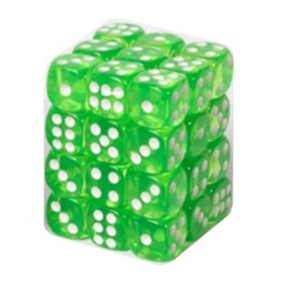Dés et compteurs  Boite De 36 Dés à 6 Faces 12mm - Transparent Grass Green