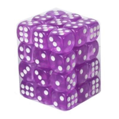 Dés et compteurs Accessoires Pour Cartes Boite De 36 Dés à 6 Faces 12mm - Transparent Light Purple