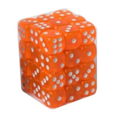 Dés et compteurs Accessoires Pour Cartes Boite De 36 Dés à 6 Faces 12mm - Transparent Orange