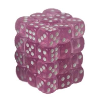 Dés et compteurs Boite De 36 Dés à 6 Faces 12mm - Transparent Pink