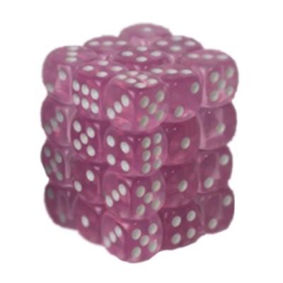 Dés et compteurs Accessoires Pour Cartes Boite De 36 Dés à 6 Faces 12mm - Transparent Pink