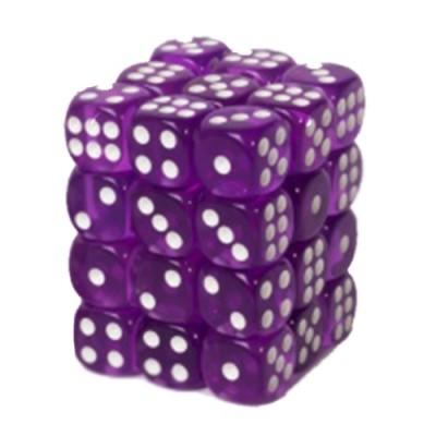 Dés et compteurs Boite De 36 Dés à 6 Faces 12mm - Transparent Violet