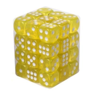 Dés et compteurs  Boite De 36 Dés à 6 Faces 12mm - Transparent Yellow