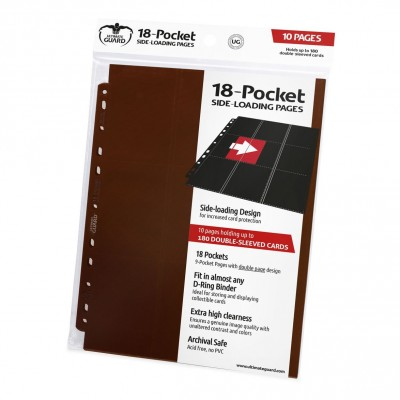Classeurs et Portfolios  Lot De 10 Feuilles - 18 Cases - Side Load - Marron