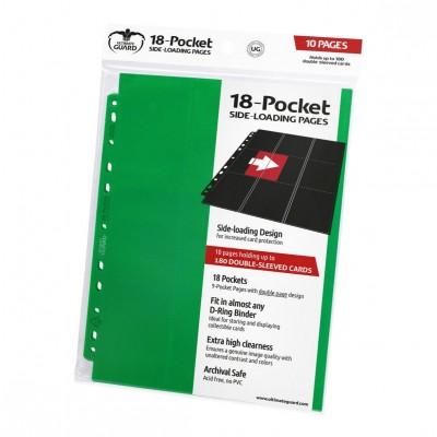 Feuilles de Classeurs  Lot De 10 Feuilles - 18 Cases - Side Load - Vert