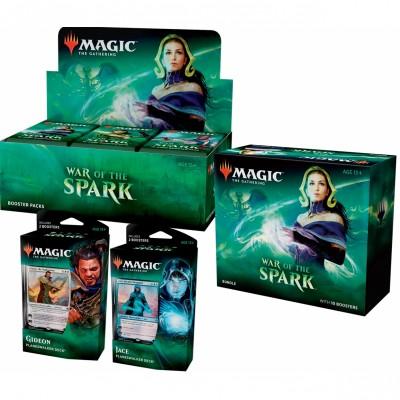 Offres Spéciales Magic the Gathering War of the Spark  - Mega Pack : Boite VO + 2 Decks VO + Bundle VO