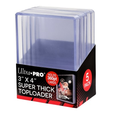 "Protèges Cartes  Toploader - 3"" x 4"" Super Thick 360PT - Clear - par 5"