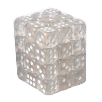 Dés et compteurs Boite De 36 Dés à 6 Faces 12mm - Transparent White
