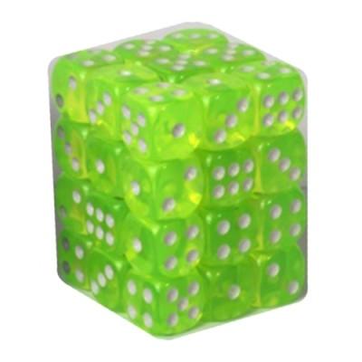 Dés et compteurs Boite De 36 Dés à 6 Faces 12mm - Transparent Light Green