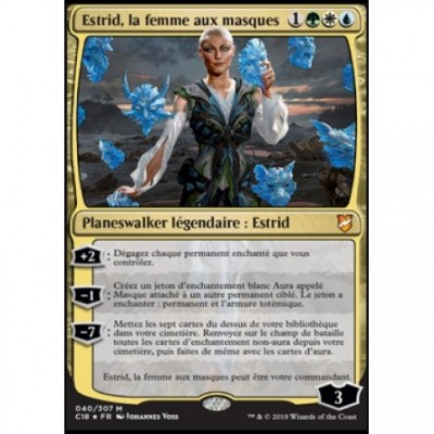Grandes Cartes Oversized Magic the Gathering Oversized Commander 2018 - Estrid, la femme aux masques (en français)