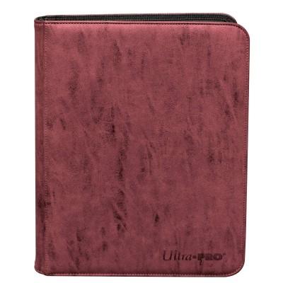 Portfolio  Zippered Suede 9-Pocket Premium PRO-Binder - Ruby